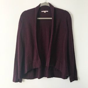 GAP Wine Colored Open-Front Knit Cardigan